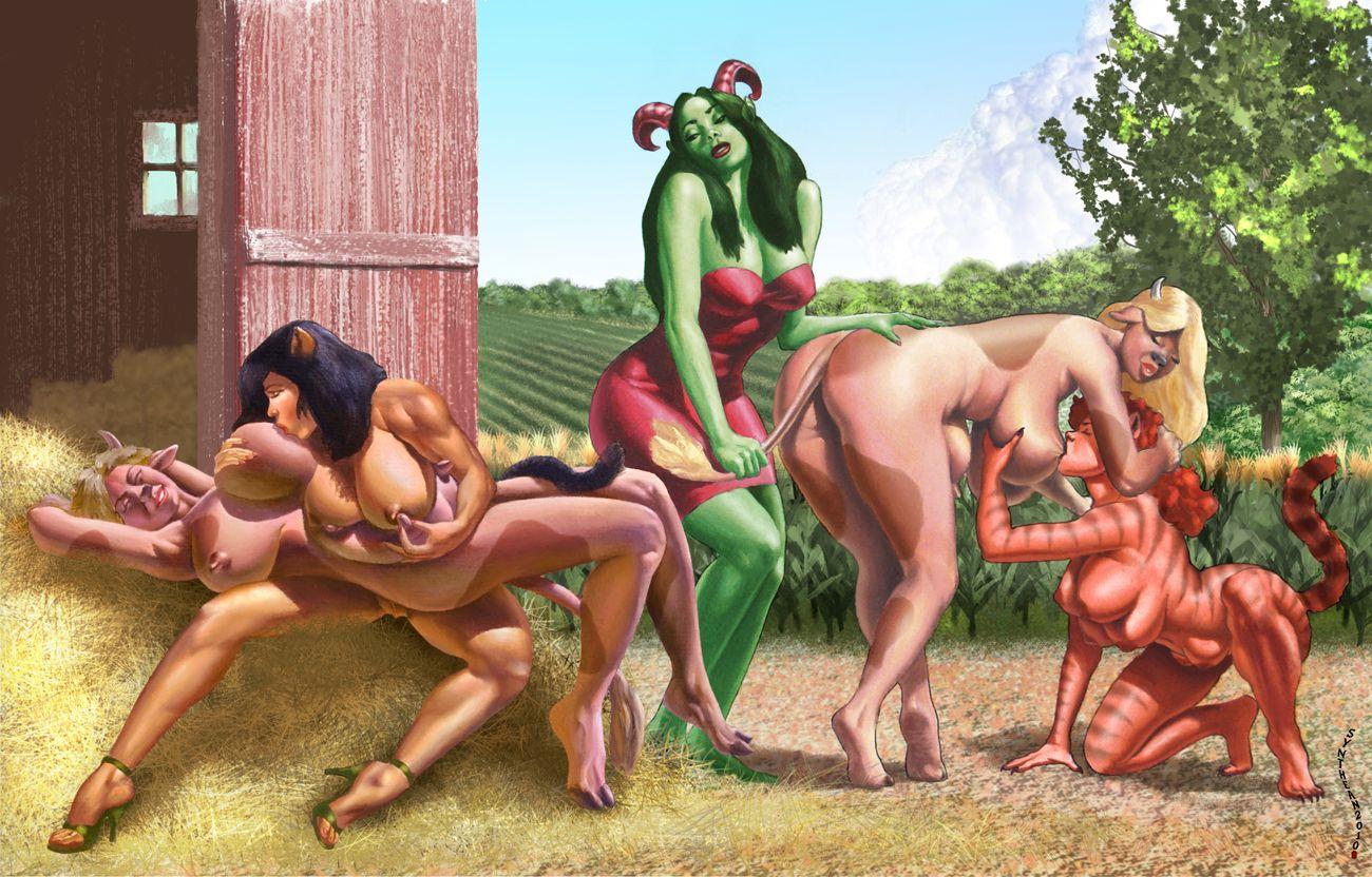 Naked girls at the barnyard back