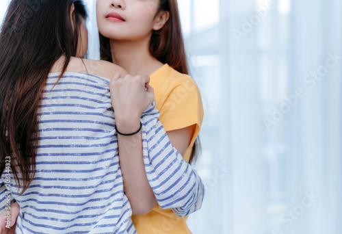 Sexy asian lesbian kissing