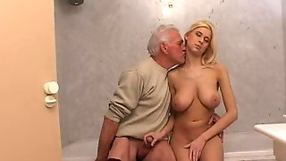 Old man sex in bathroom