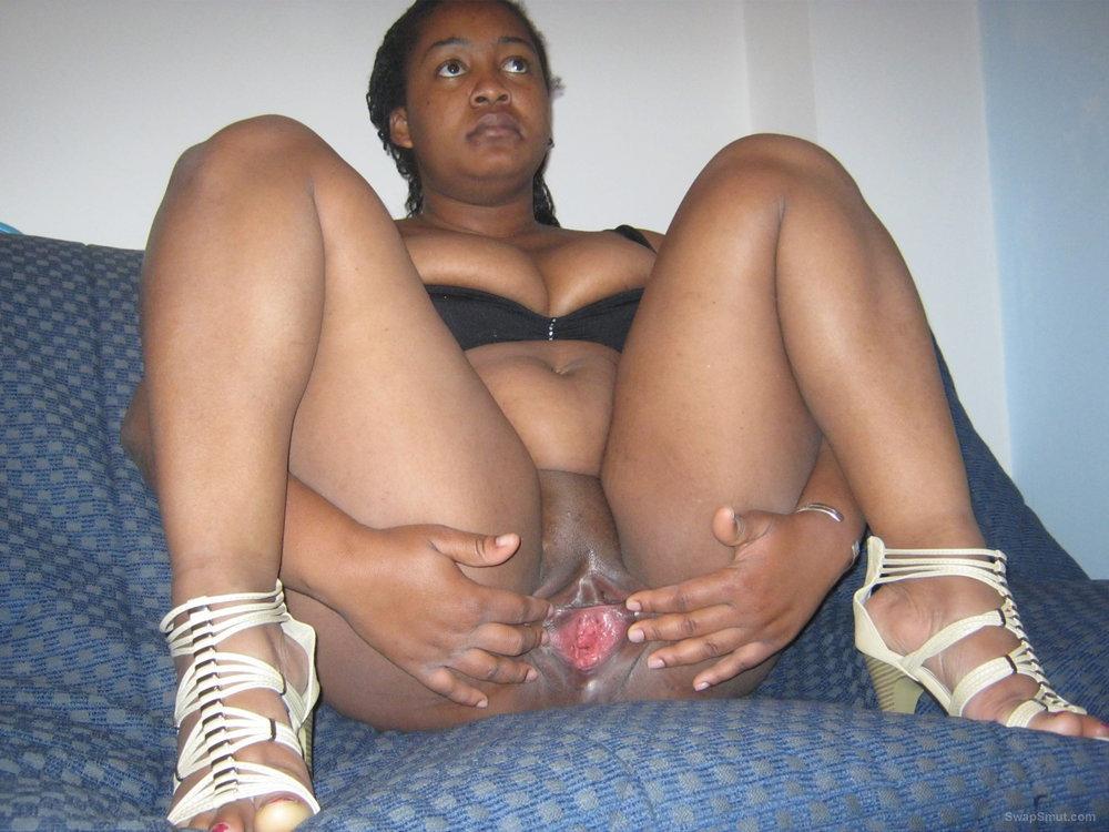 Ebony bbw spread wide