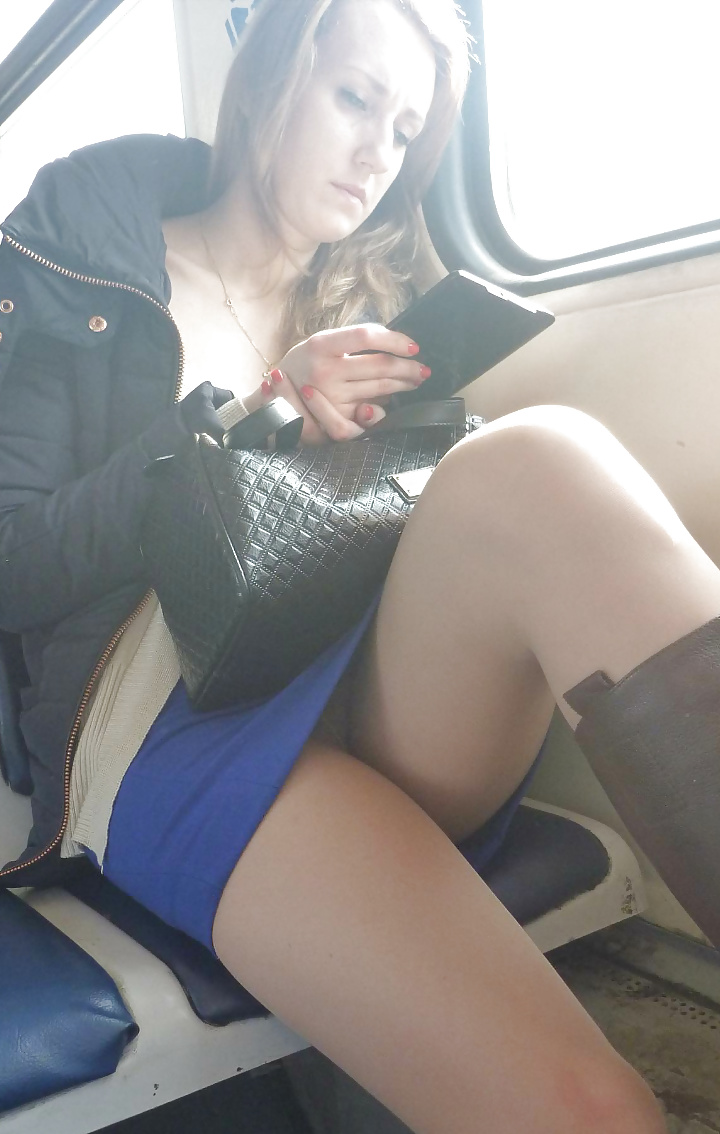 Sleeping upskirt on train