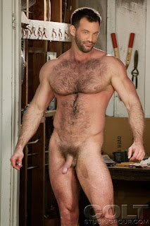Men chested naked hairy muscle