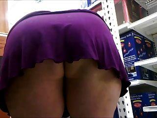 Over no skirt milf bent panties short