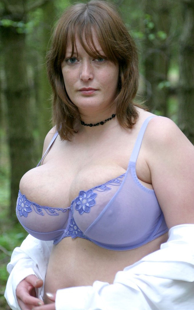Mature granny big tits in bra