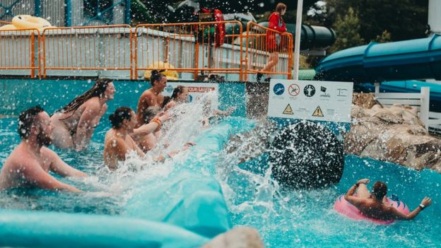Hidden nude family pool
