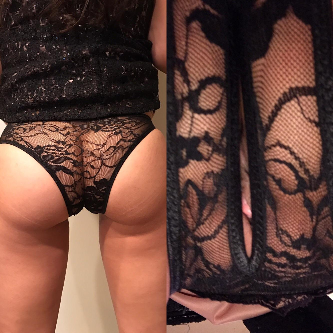 Wearing panties wife crotchless