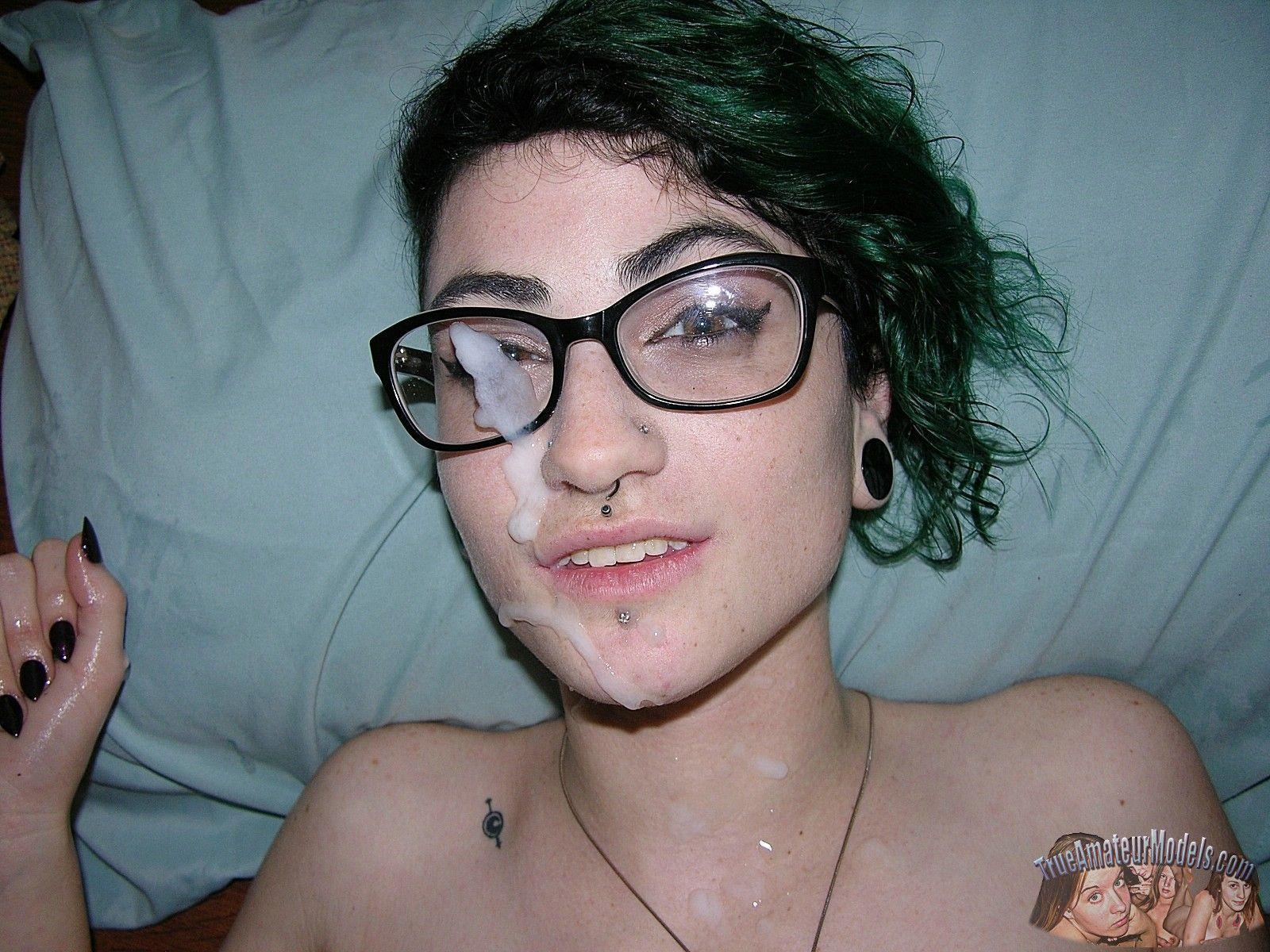 Emo girl takes selfie of facial cumshot on glasses