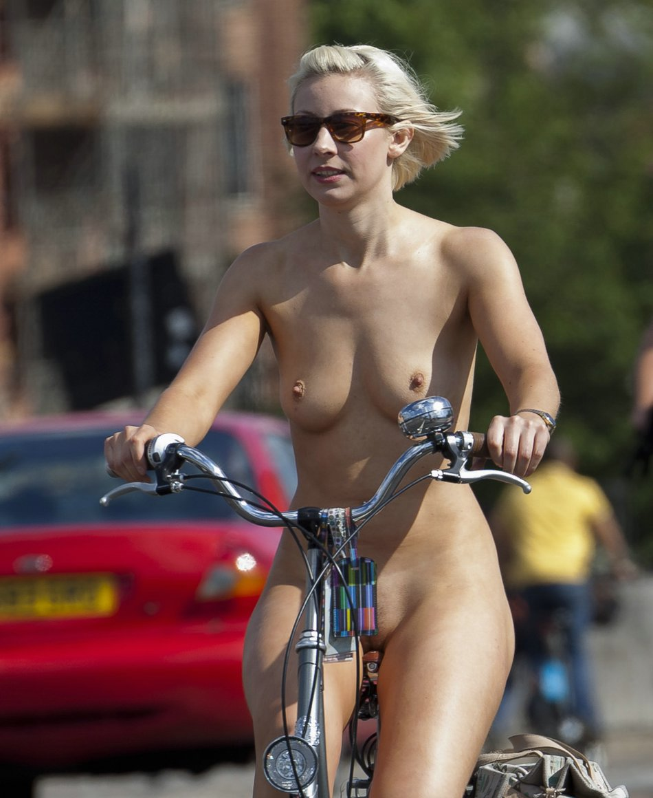 Hot naked girls on bikes riding