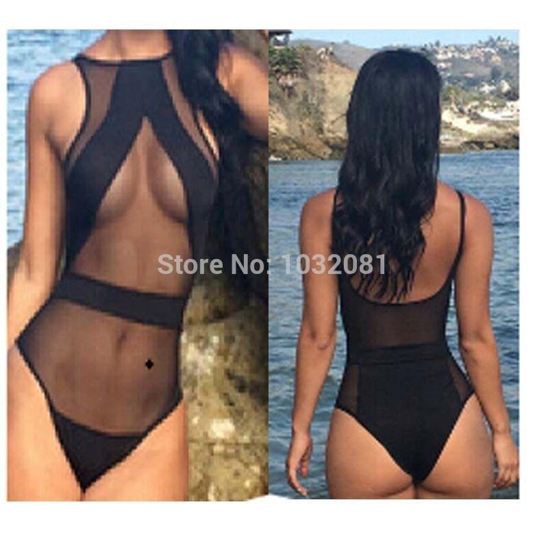 Sheer sexy bathing suit girl