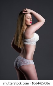 Natural blonde curvy woman