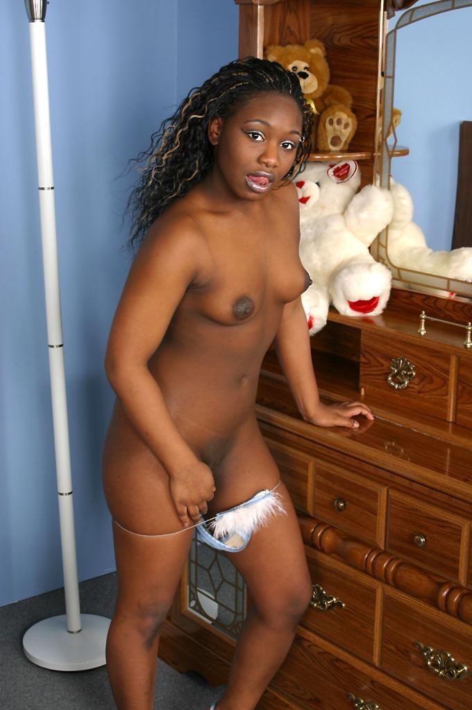 Shaved ebony pussy spread