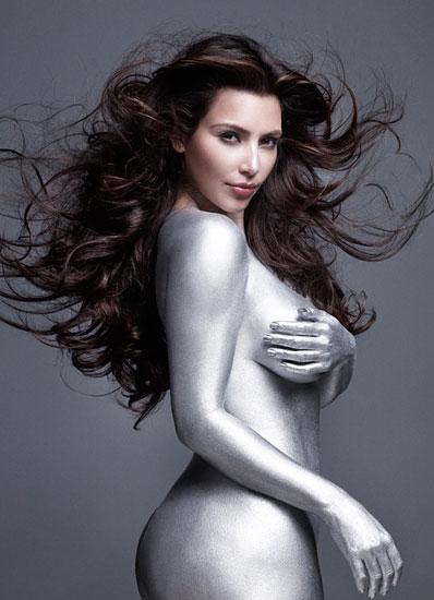 Kim kardashian silver naked