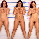 Line up of nude women