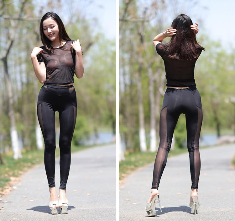 Black women in see through legging