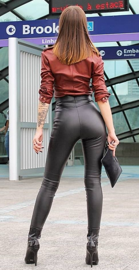 Sexy skin tight leather pants